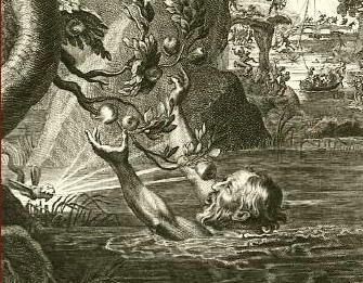 Grabado del mito de Tántalo