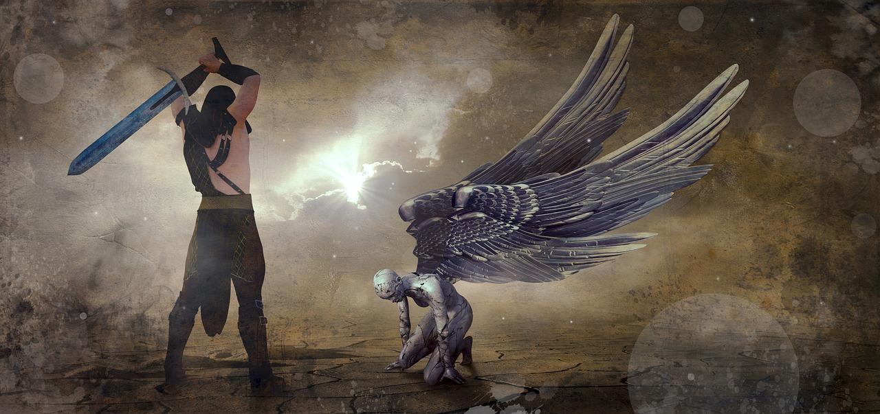 Un verdugo con una espada amenaza con decapitar a un ángel arrodillado.