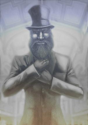 La imagen muestra un hombre con barba en tonos azulados