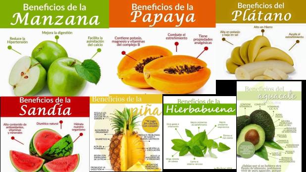 Aparece una serie de frutas con sus propiedades saludables