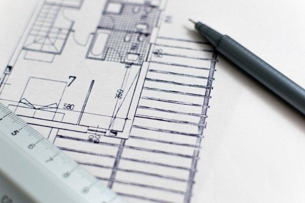 Plano de una obra para edificar una vivienda