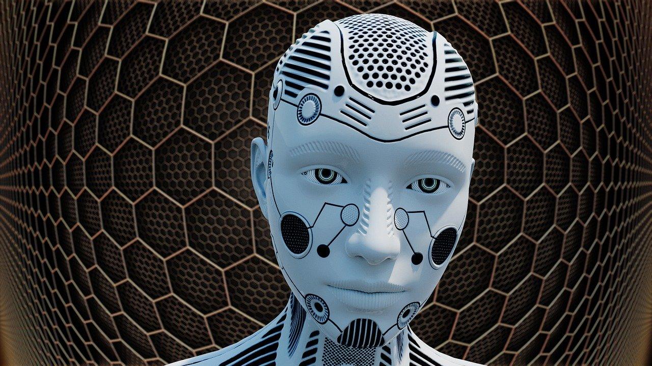 Un robot en primer plano con un fondo de tipo futurista