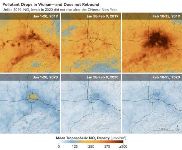 Imágenes del descenso de contaminación en China por el coronavirus