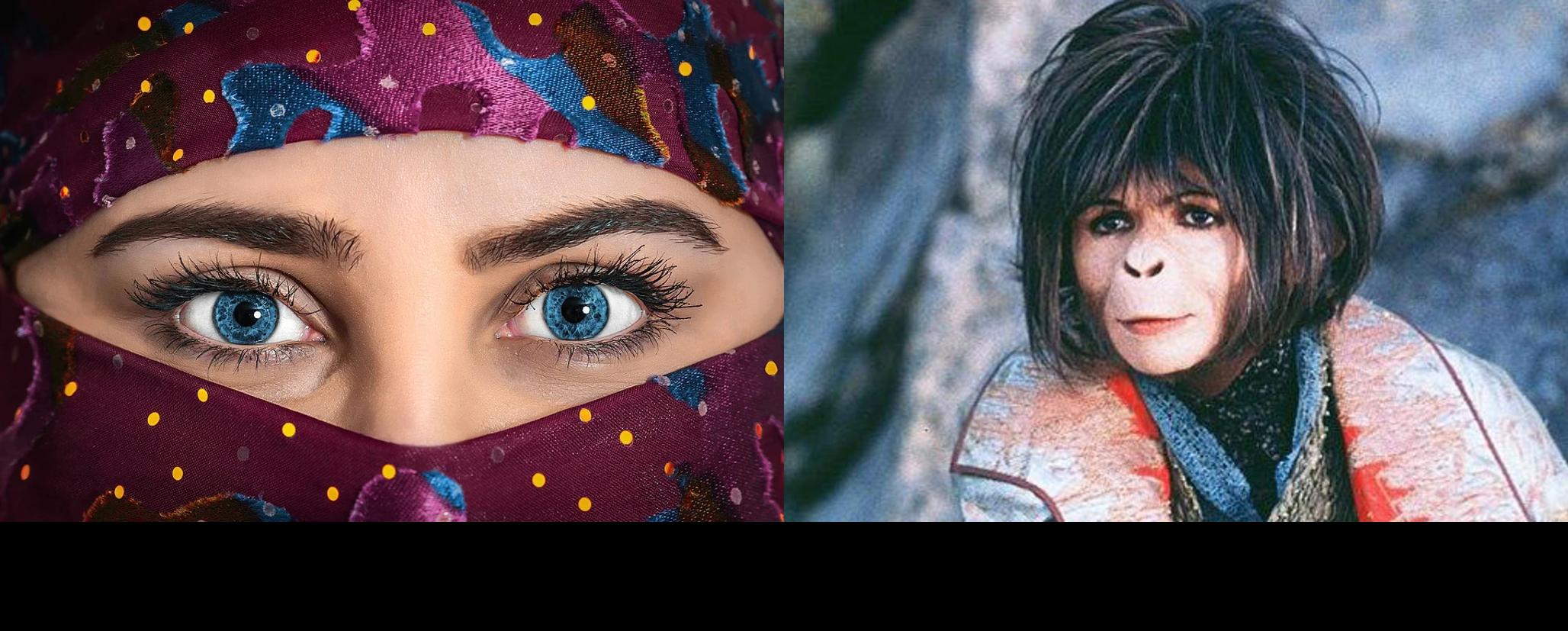 A la izquierda una mujer árabe con velo, a la derecha, personaje femenino del planeta de los simios